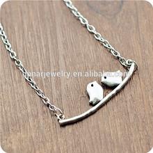 2014 couple birds in branch antique silver alloy love birds pendant necklace
