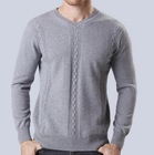 Warm and soft V neck Pure cashmere cable jacquard pullover mens cashmere sweater
