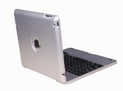 Rotating wireless bluetooth keyboard case for ipad 3/4