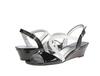 dressy factory price women wedge heel sandal shoe white black women wedge heel sandal