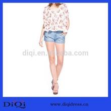 Fashion Design Floral Printing Tunic Loose Chiffon Tops