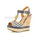 Internacional de mulheres de salto alto sapatos de salto cunha sapatas da sandália das mulheres brancas/azul tiras de cortiça sandália salto cunha sapatas
