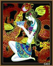 girl linen canvas painting portrait
