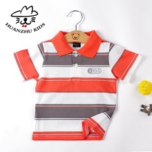 Kid clothes 2012 stripe turn-down collar polo golden boy t shirt