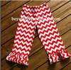 designer kids clothes baby wholesale 100% cotton chevron pant with ruffle zig zag chevron pants Chevron Print Red trousers