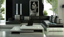 luxury living room leather sofa set with black and white color