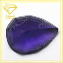 purple pear cut synthetic glass rough gemstones