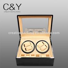 2014 hot sale high gloss black wooden finish winding watch box