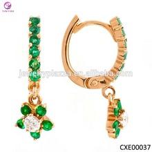High quanlity 925 Silver Emerald pendant earrings, colored stone earrings