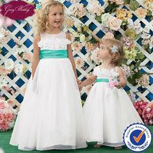 Goingwedding 2014 New Arrival Hot Selling Two Color White Flower Girl Dress With Handmade Flowers HT073