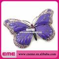 Purple Rhinestone de la mariposa broche de cristal de moda elegante Pin para la boda y prendas de vestir