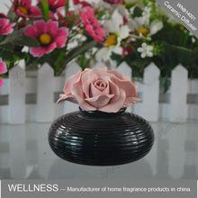 black holder ceramic pink flower diffuser
