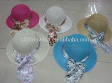 Fashion wide brim paper cloth hat, Paper summer beach hat wiht round crown