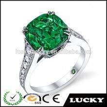 New design fashion fake white gold emerald ring