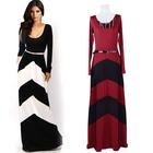 Woman summer 2014 Celeb Style Long Sleeve Slim Maxi Dress With Belt Beach Long Dress 3 Colors SV001602