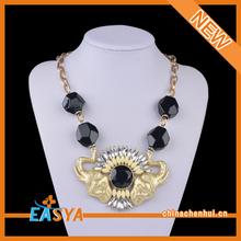 Beautiful Decoration Black Bead Gold Elephant Necklace