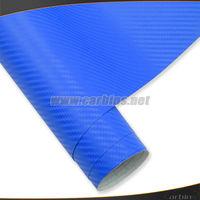 3D carbon fiber vinyl sheet , blue carbon car protective vinyl wrap sticker 1.52*30m