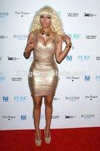 Hot sale gold foil halter bandage dress wedding dresses celebrity dress