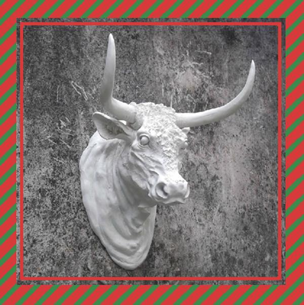 anao de jardim resumo:Resina branca touro cabeça de Animal cabeça parede-Artesanato de