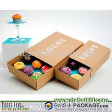 brown kraft paper slide drawer packaging box cupcake packaging