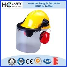 Industrial anti impact head protection PC visor earmuff safety helmet