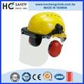 lugar de trabajo duro sombrero de la cabeza de protección pc claro visera y orejeras de casco de seguridad