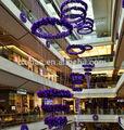 Mall de noël del se allume en rotin guirlande atrium décoration pour le center commercial