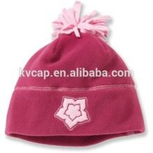 Fleece Winter Warm Kids Babies Star Flower Sports Beanie Hat With Noodles Pom