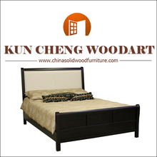 New Antique European style solid wood double bed with black color
