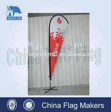 Custom display hot outdoor teardrop beach flags base/beach flag price for sale