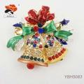 splendida smalto colorato strass grande doppio campane di natale spilla regalo per gli amici