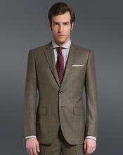 Notch Lapel 100% wool two buttons Khaki checks half-canvas suit 2014 Men's new style business suit
