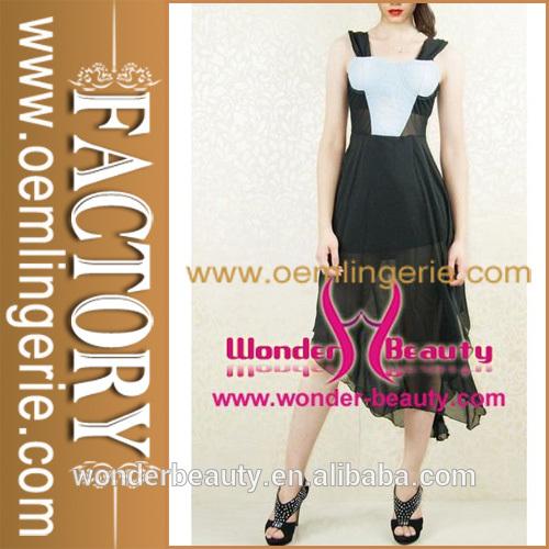 نمط رعاة البقر الربطشهادات اللباس الصيف عارضة فستان طويل من الشيفون اللون ابيض اسود