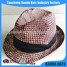 2014 Fashion Unisex Raffia straw knitted Fedora panama hat from hat factory