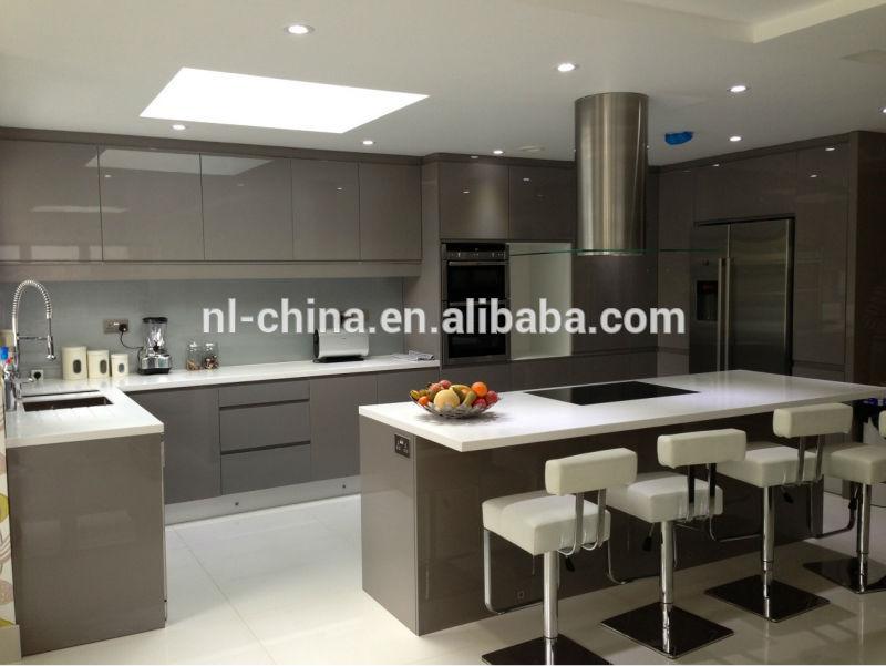 Vendre haute brillant gris couleur laque armoires de for Modele cuisine gris laque