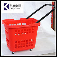 Good Quality Supermarket Rolling plastic Shopping Basket with four wheels
