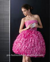 2014 New Arrival Strapless Beaded Taffeta Short Ball Gown Flower Knee Length Cocktail Dress