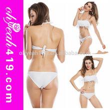 Sexy hot girls plain white braided micro bikini extreme mini