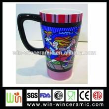 21OZ ceramic mug, stoneware mug, printed mug with flower handpainting