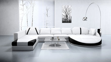 Luxury black and white leather sofa with U shape