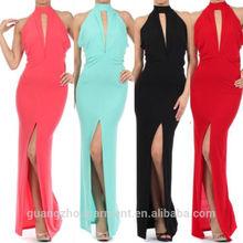 women black halter keyhole thigh slit full length party evening dresses china