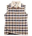 Estilo occidental 100% baratos de algodón a cuadros sin mangas de la camisa de polo para mujer