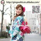 Fuuka Stylish Kimono Yukata Uniform Costumes Event Lady Cotton Washable Three Colors Sakura and Board Yukata Obi Set