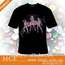 dance rhinestone hotfix motif zumba iron on t-shirt