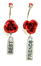 "2 Pieces Rose Belly Button Ring 14G Dangle ""Best Friends"""