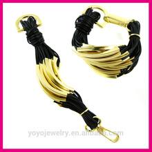 Hi quality new gold design leather rope bracelet