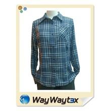High quality 100% poly fabric lady plaid long sleeves shirt