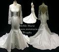 Elegante sereia appliqued laço gola alta manga comprida vestido de casamento vestido de noiva com keyhole byb-14563