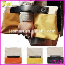 2014 New Korean Version Fashion Lady Handbags Wholesale Stitching Hit Color Bag Envelope Clutch Bag Hand Fold