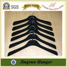 Black Thick Plastic Velvet Hanger for Clothes
